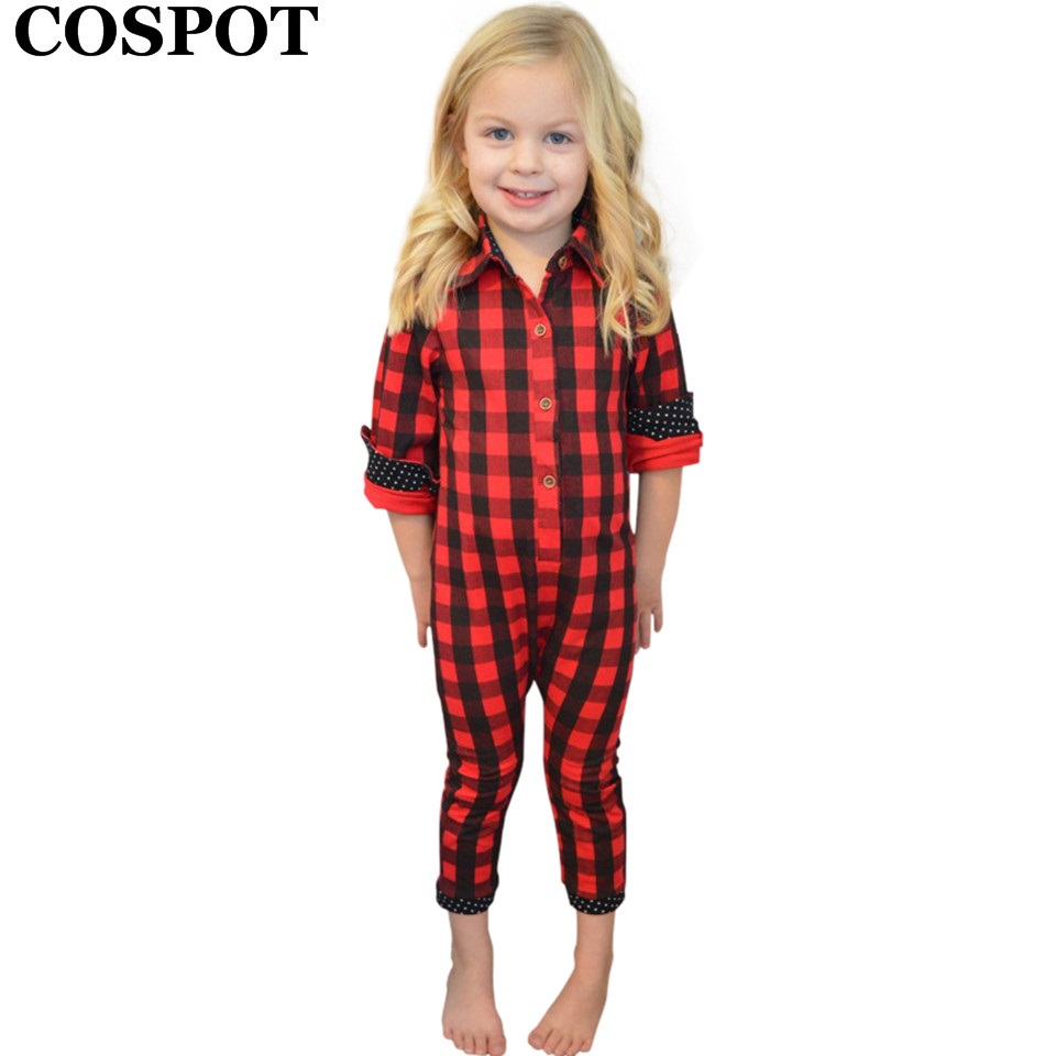 COSPOT Baby Boys Girls Red Plaid Christmas   Romper   Toddler Kids Cotton Jumper Pajamas Newborn Red Plaid Jumpsuit 2019 New E32