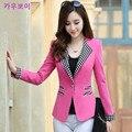 2016 Autumn Fashion Women Slim Fit Blazer Jackets One Button Plaid Patchwork Long Sleeve Blazer Women Coat