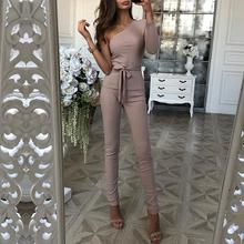 Autumn Women Fashion Elegant Casual Suit Sets Ribbed One Sleeve Tie Waist Top & Long Pants