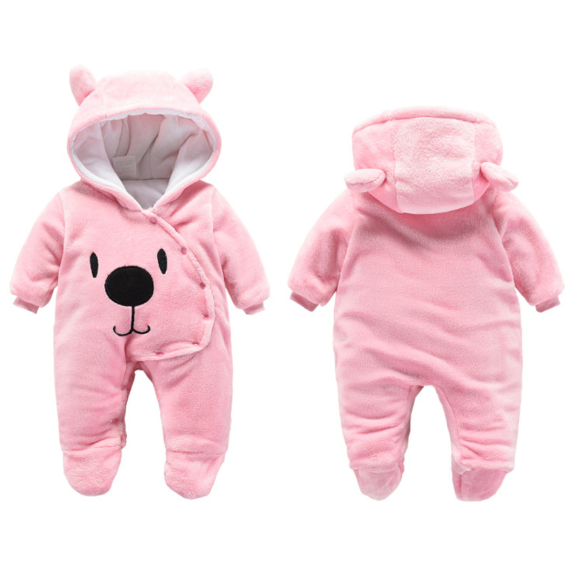 winter Baby girls   romper   autumn winter bear hoody newborn boys girls jumpsuit girls soft thick long pajamas warm infant clothes