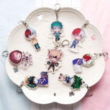 2018 fashion Lovely Cartoon Anime New Academia My Hero Academi Keychain Acrylic Key Ring Charms Gift(China)