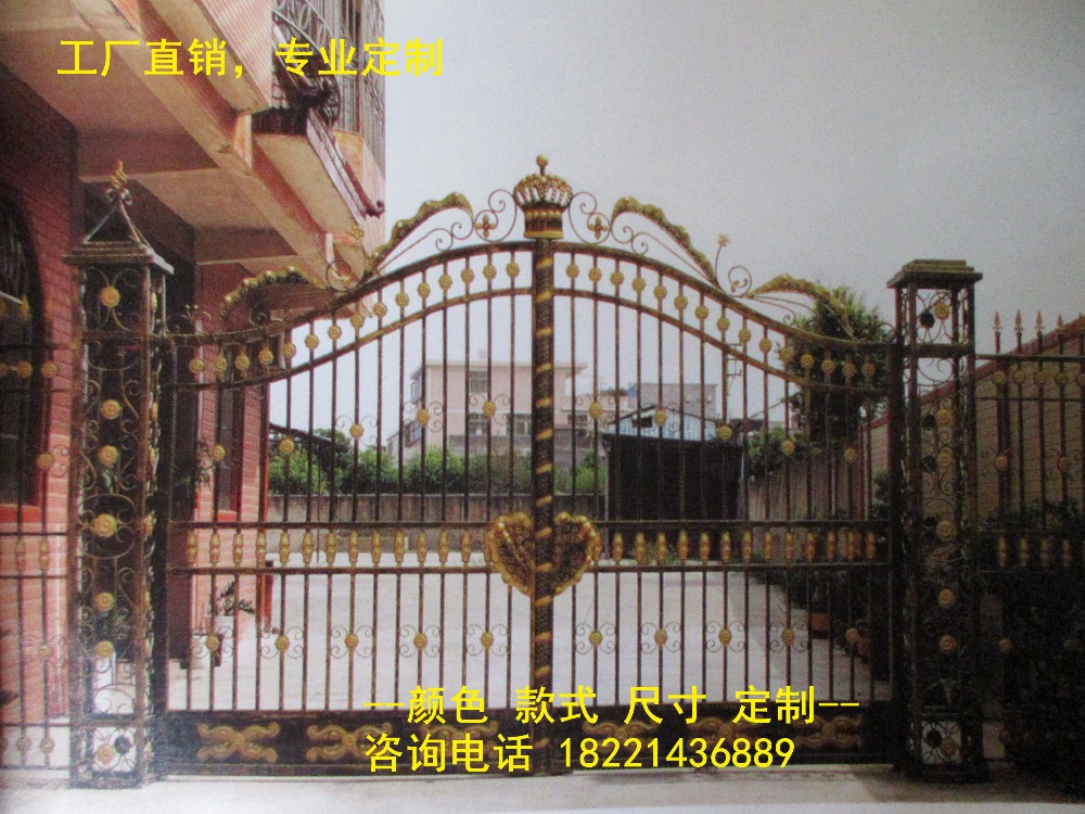 Custom Made Wrought Iron Gates Designs Whole Sale Wrought Iron Gates Metal Gates Steel Gates Hc-g96