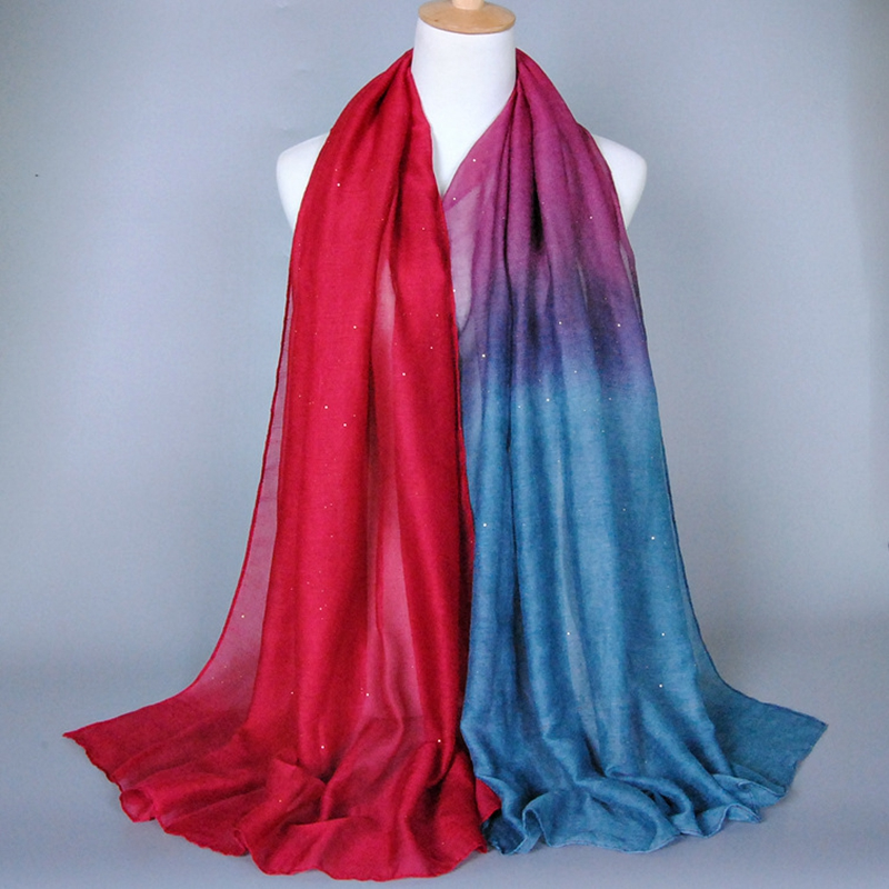 High Quality Women Fashion 2019 Women Soft Voile Scarves Gradient Color Shade Pashmina Stole Shawl Wrap Scarves in Women 39 s Scarves from Apparel Accessories