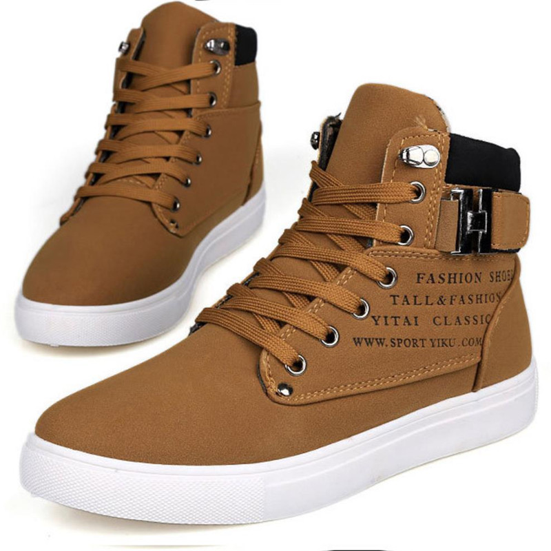 Fashion Warm Winter Men shoes 2019 Super Hot Men Boots Autumn Leather Footwear For Man New High Top Canvas Casual Shoes Men Flat