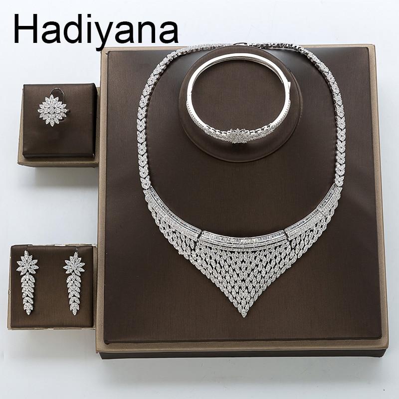 Hadiyana 럭셔리 신부 웨딩 약혼 보석 세트 상감 화려한 큐빅 지르코니아 여성 파티 선물 tz8132 accesorios mujer-에서보석 세트부터 쥬얼리 및 액세서리 의  그룹 1