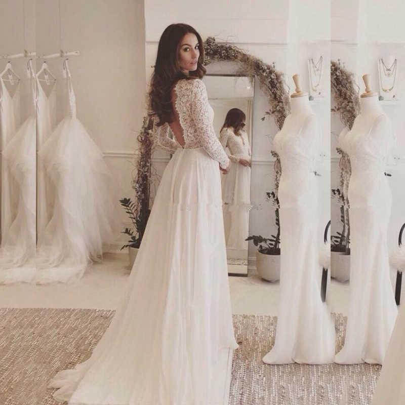 e4bd5490123 Сексуальные белые кружева с длинным рукавом Выпускной 2019 Элегантное  свадебное платье из шифона бесплатная индивидуальный заказ
