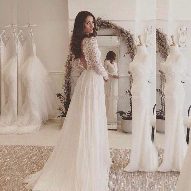 fbf8a0faf47 Sexy White Lace Long Sleeve Prom Gowns 2019 Elegant Chiffon Wedding Gown  Free Custom Made Formal Party Floor Length Maxi Dresses