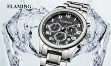 FLAMING SPORT Series 2 Models Miyota Chronograph Movement Watches Men Real Three Dial Waterproof Outdoor Gifts