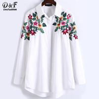 Dotfashion Cute Floral Embroidery High Low Boho Blouse 2017 Autumn Collar Long Sleeve Equipment Blouse Women's Casual Top