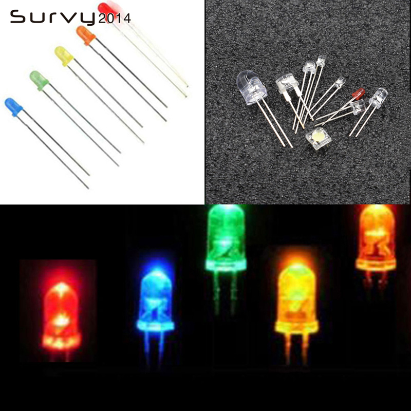 Active Components 100pcs X Long Leg 3mm 5mm White Diffused Jade Green Yellow Red Blue Ultra Bright Led Light-emitting Diode Led Attractive Designs; Diodes