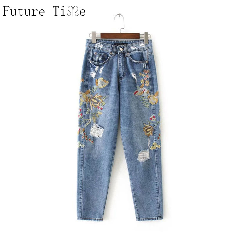 Future Time Women Boyfriend Jeans Flower Embroidery Denim Pants Casual Washed Ripped Pencil Pants Vintage Loose Trousers NZ045 autumn new fashion cotton jeans women loose low waist washed vintage big hole ripped long denim pencil pants casual girl pants