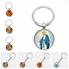 2019 New Believers Christian Virgin Mary Convex Round Keyring Photo Glass Dome Jewelry Car Keychain Wholesale