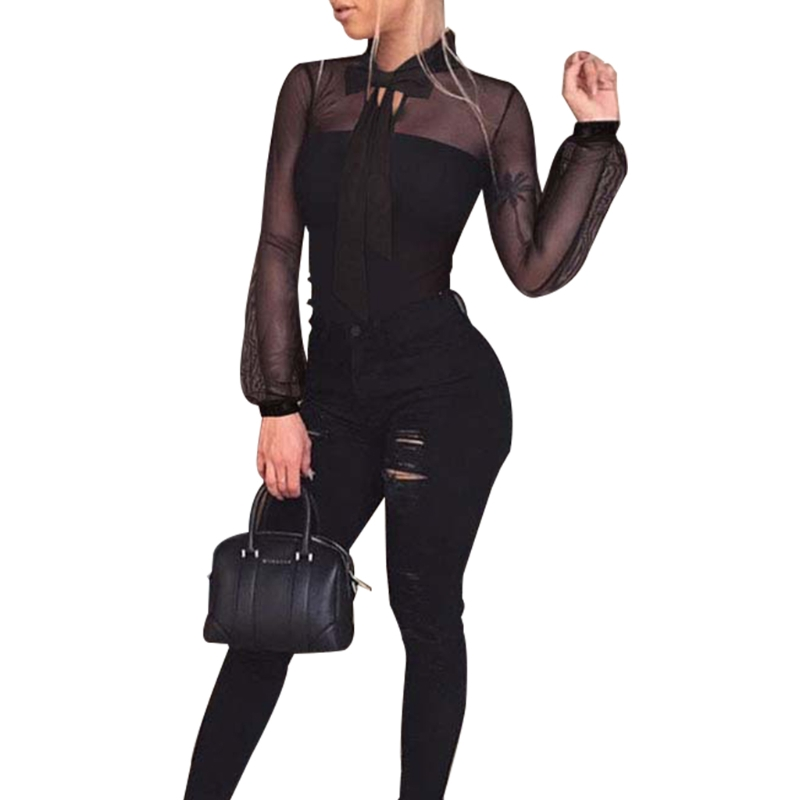 Women Black Autumn Long Sleeve See-through Mesh Bow Tie Jumpsuits Bodysuits   Blouse     Shirt   Tops Patchwork Black Sexy Lace S/M/L/XL
