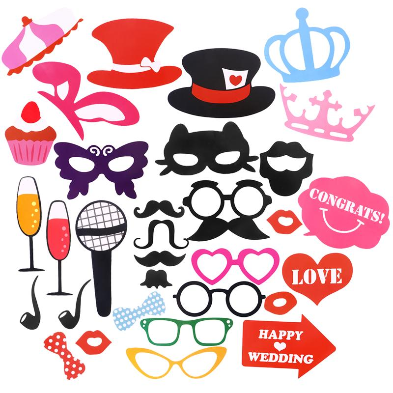 32pcs Wedding Photo Booth Props Photobooth Kits Dress Up Decoration Party Supplier Fun Accessories