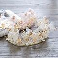 Gorgeous pink silk flower hairband girl crown bride hairband+earring hairwear gifts festival wedding hair accessories srxh02