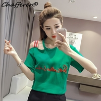 Fashion Half Sleeve Strapless Temperament Ladies T Shirts Hot Crop Tops Loose Thin Cotton Tees Clothing