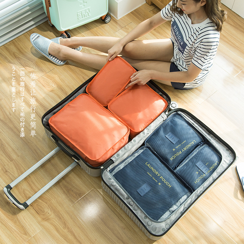 6 in 1 Travel suitcase organizer sets storage case/bag large/medium/small one set solid color luggage bag for cloth sort out