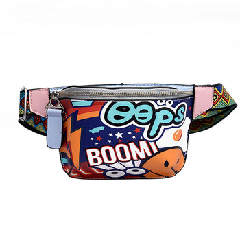 HTNBO Cute Fanny Pack Waist Bag Women Personality Belt Bags PU Leather Graffiti Chest Handbag WIth Colorful Shoulder Belt 2019