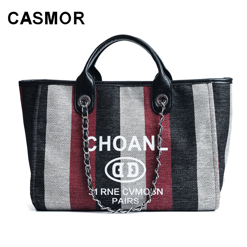 Casmor Women Canvas Shoulder Bag Designer Handbags Famous Brand Striped Tote Luxury Fashion Leather Messenger Bags In Top Handle From Luggage