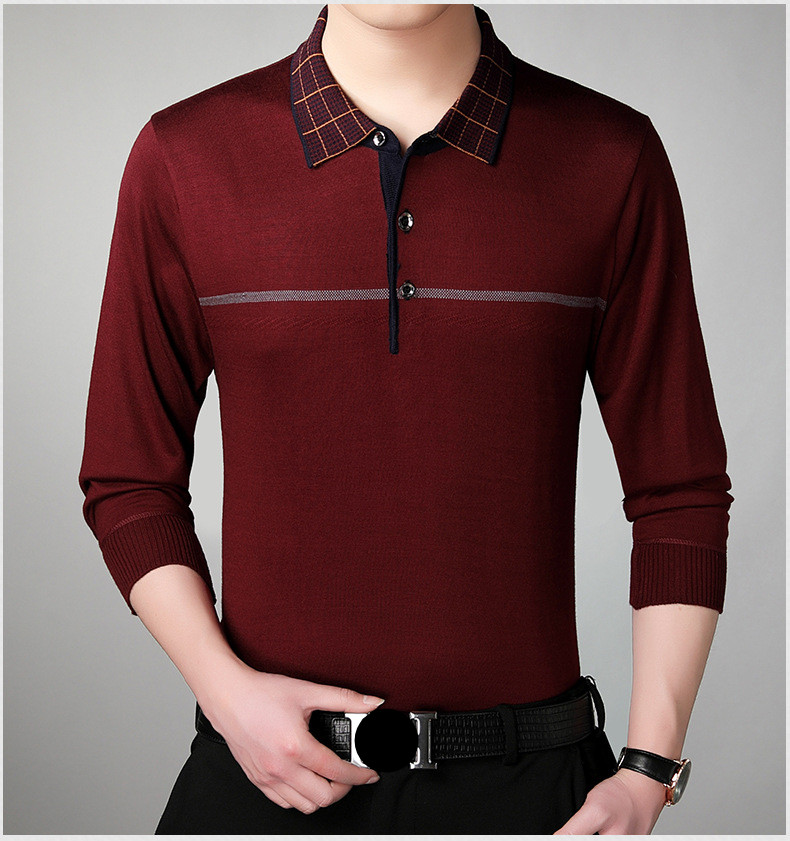 1055c73bb2 2019 Lapel Men s Business Casual Long Sleeve Polo Shirt Knit Polo Shirts  Large Size-in Polo from Men s Clothing on Aliexpress.com