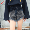 Plus size 2017 spring women novelty punk rivet beading hole hot shorts punk fashion slim blue black high waist denim shorts