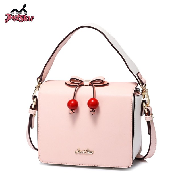 JUST STAR Women s Leather Handbags Ladies Fashion Cherry Bow Box Shoulder  Tote Purse Female Fruit Spring Elegant Messenger Bags 2f74f8b06