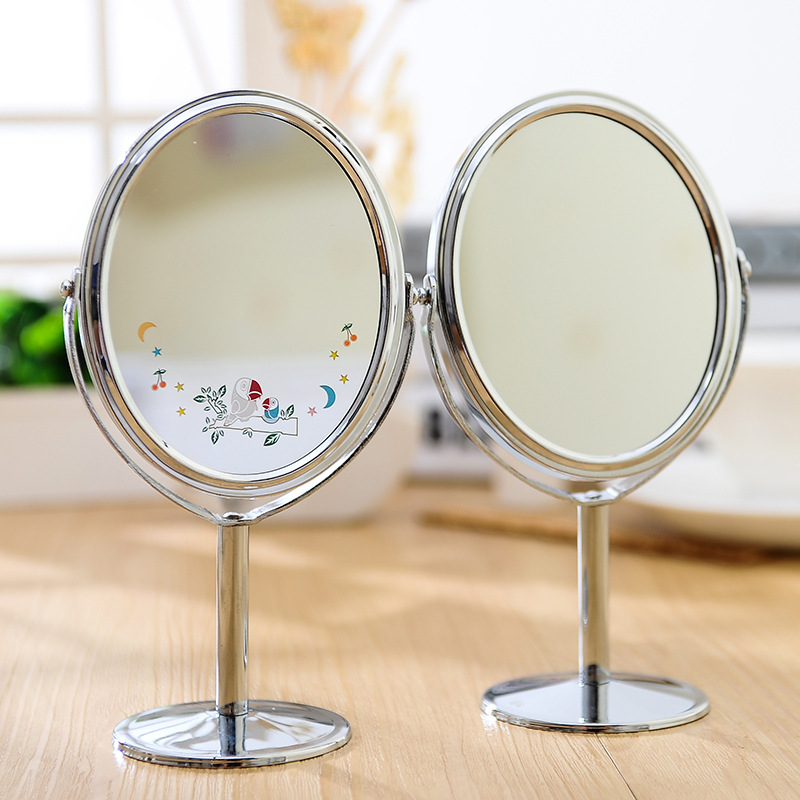 Women Beauty dress up Mirror Desktop Double-Sides Swivel Cosmetic Makeup Round Mirror Metal crafts1x 2 Magnification Mirror