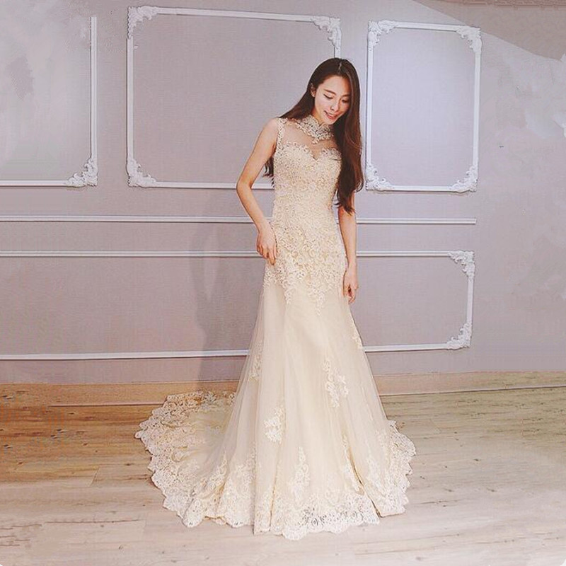 Cheap White Ivory Wedding Dresses Mermaid Lace Appliques: Katristsis D Appliques Mermaid Wedding Dresses With Cap