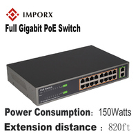 IMPORX 18 Ports 16 POE Injector POE Power Over Ethernet Switch POE Ethernet Switch Network Camera Power Adapter IEEE 802.3at/af
