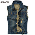 2017 New Brand Vintage Hole Mens Denim Vest Slim Fit Sleeveless Jeans Jackets Washed Male Outwear Jacket Plus Size 6XL MXF0058