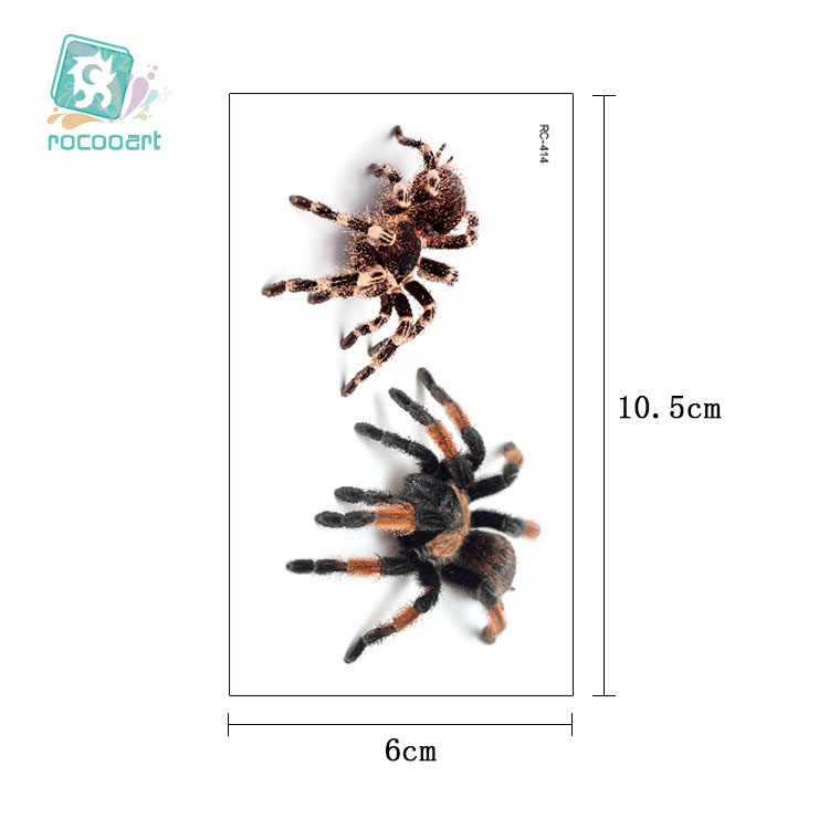 Rocooart 3D עכביש קעקוע עקרב זמני קעקוע מדבקות עבור ליל כל הקדושים מזויף קעקוע גוף אמנות Tatuajes בדיחה Tatouage Temporaire