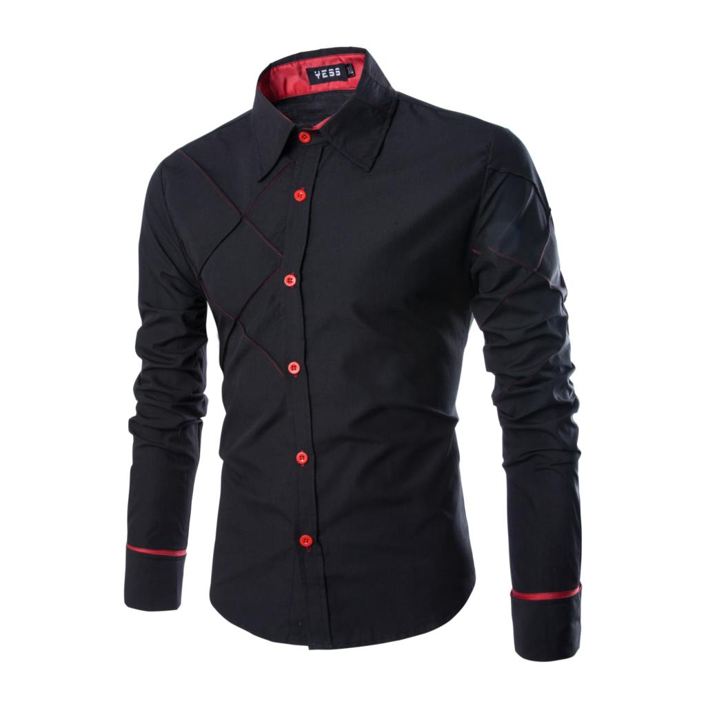 17 New Fashion Brand Men Shirt Grid 10 Colors Dress Shirt Long Sleeve Slim Fit Camisa Masculina Casual Male Shirts Model White 6