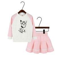Primavera 2018 Ragazze Che Coprono Gli Insiemi Svegli Del Gatto Del Fumetto Stampato Shirt + Skirt 2 pz Neonata Tuta Vestito di Sport Per Bambini vestiti Set 2-7Y