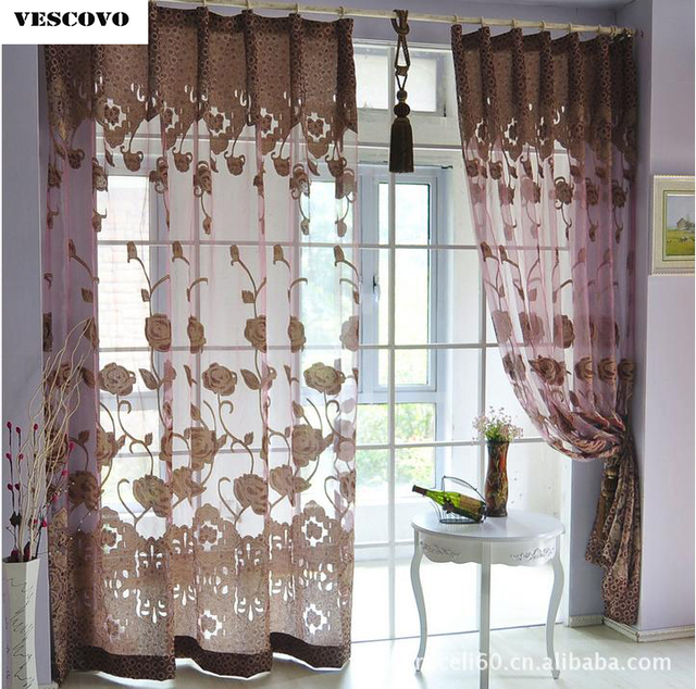 Vescovo Flower Jacquard Tulle Curtains For Bedroom Window Elegant