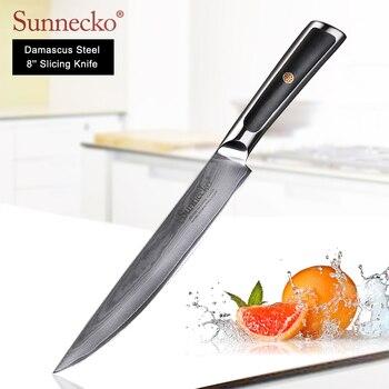 SUNNECKO 8 inch Slicing Knife  Damascus Kitchen Knives Japanese VG10 Core Steel Blade G10 Handle Sharp Meat Slicer Cutter Knife