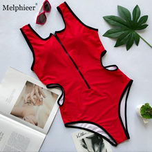 Zipper Bodysuits One-pieces Sexy Swimsuit Solid Swimwear Red Hollow Bikini Women Push Up Beachwear Monokini Suit Bathing Women(China)