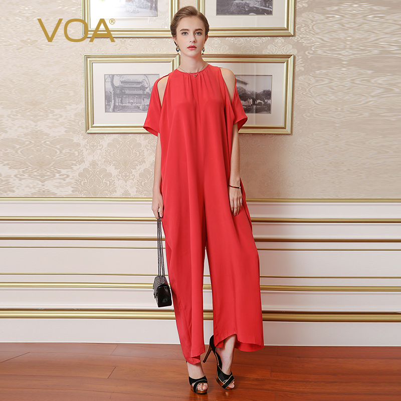 VOA Heavy Silk Wide Leg Pants Big Size Jumpsuits Vintage Red Casual Loose Simple Solid Sexy Strapless Women Summer K6268