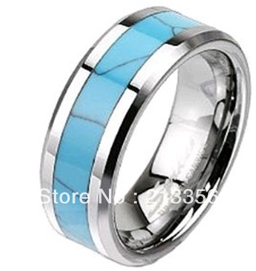 free shipping cheap price jewelry usa brazil russia hot selling 8mm mens turquoise inlay silver beveled