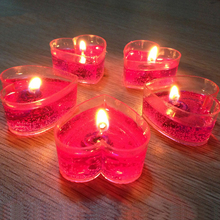 Creative Heart Shaped Candle Jelly Wax Pink Romantic Gel Scented Candles Birthday Kaarsjes Wedding 50KO342