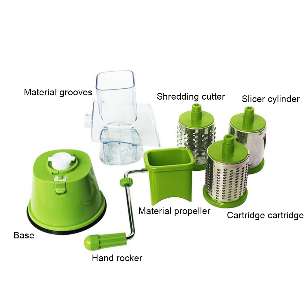 Stainless Steel Plastic Vegetables Fruits Cutter Slicer Cheese Potato Shredder Rotary Drum Grater Hot Sale