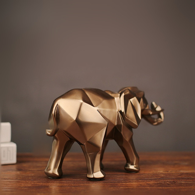 MRZOOT Gold Modern Geometric Gold Elephant Resin Home Decoration Accessories Crafts Sculpture Statue Jewelry Ornaments.jpg 640x640 - decor, collectibles - Abstract Geometric Golden Elephant
