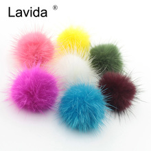 Lavida F20 100 sztuk prawdziwe futro z norek piłka norek futrzany pompon pompon/DIY brelok do kluczy w kształcie pierścienia kolczyk naszyjnik materiały/biżuteria akcesoria