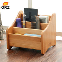 ORZ Bamboo Storage Box 3 Grid Desktop Organizer Remote Controller Jewelry Makeup Cosmetic Storage Boxes Holder