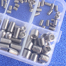 цена на 200Pcs/set Stainless Steel Wood Screws Allen Head Socket Hex Set Grub Screw Assortment Cup Point parafuso Assortment