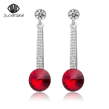DLSHTMB Fashion Silver Plated Earing Red/Black Crystal Round Dangle Drop Long Earring for women Wedding Jewelry brincos