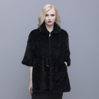 QIUSIDUN Genuine Pure Natural Mink Fur Short Sleeve Coat Fashion Winter Warm Large Size Flower Mink Oblique Thread Women's Coats