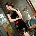Shanghai Story Qipao Dress elegant velvet short sleeve dress Slim vestidos middle-aged mother dress retro wedding cheongsam