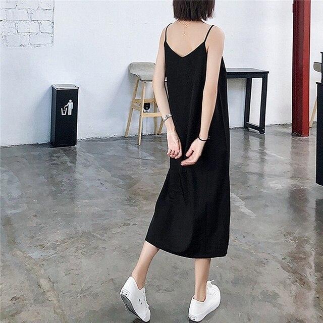 Sexy Women Maxi Dress Black Sling Dress Female Summer 2020 Sleeveless V-neck Vest Long Women Dresses 4