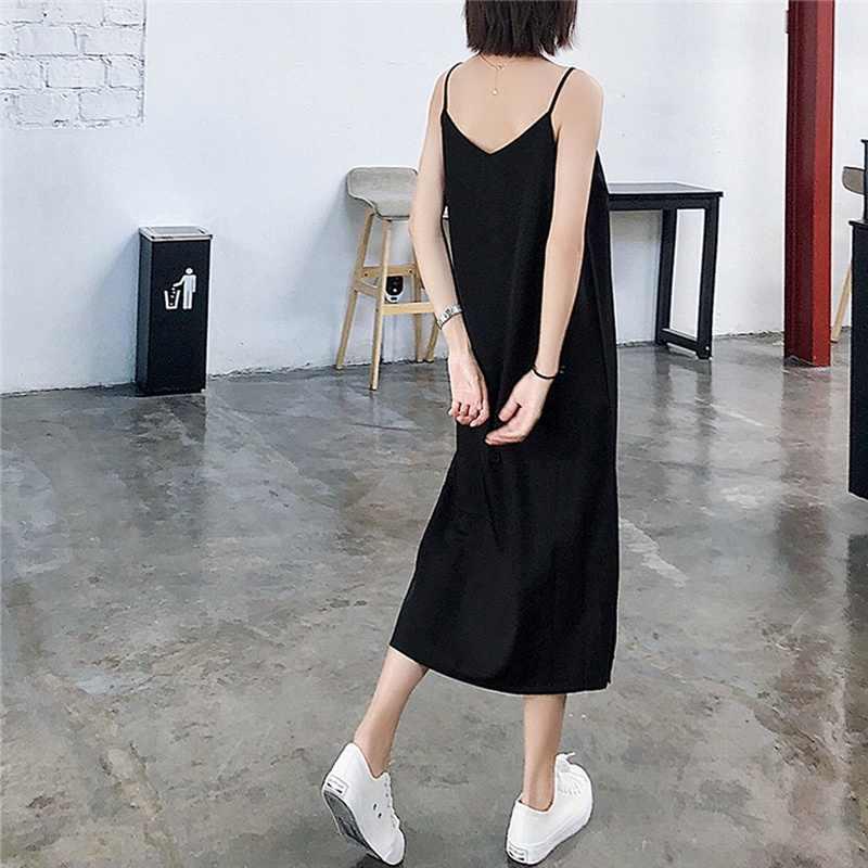 Сексуальное женское Макси платье Черный Слинг Летнее женское платье 2019 без рукавов v-образным вырезом жилет Длинные платья для женщин