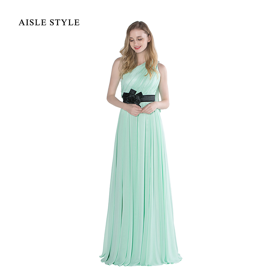 Compare prices on mint junior bridesmaid dresses online shopping aisle style mint green bridesmaid dress with flower ribbon long one shoulder pleated dresses for wedding ombrellifo Image collections